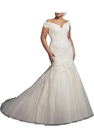 Beauty Bridal V-Neck Off Shoulder Mermaid Wedding Dresses For Bride ...