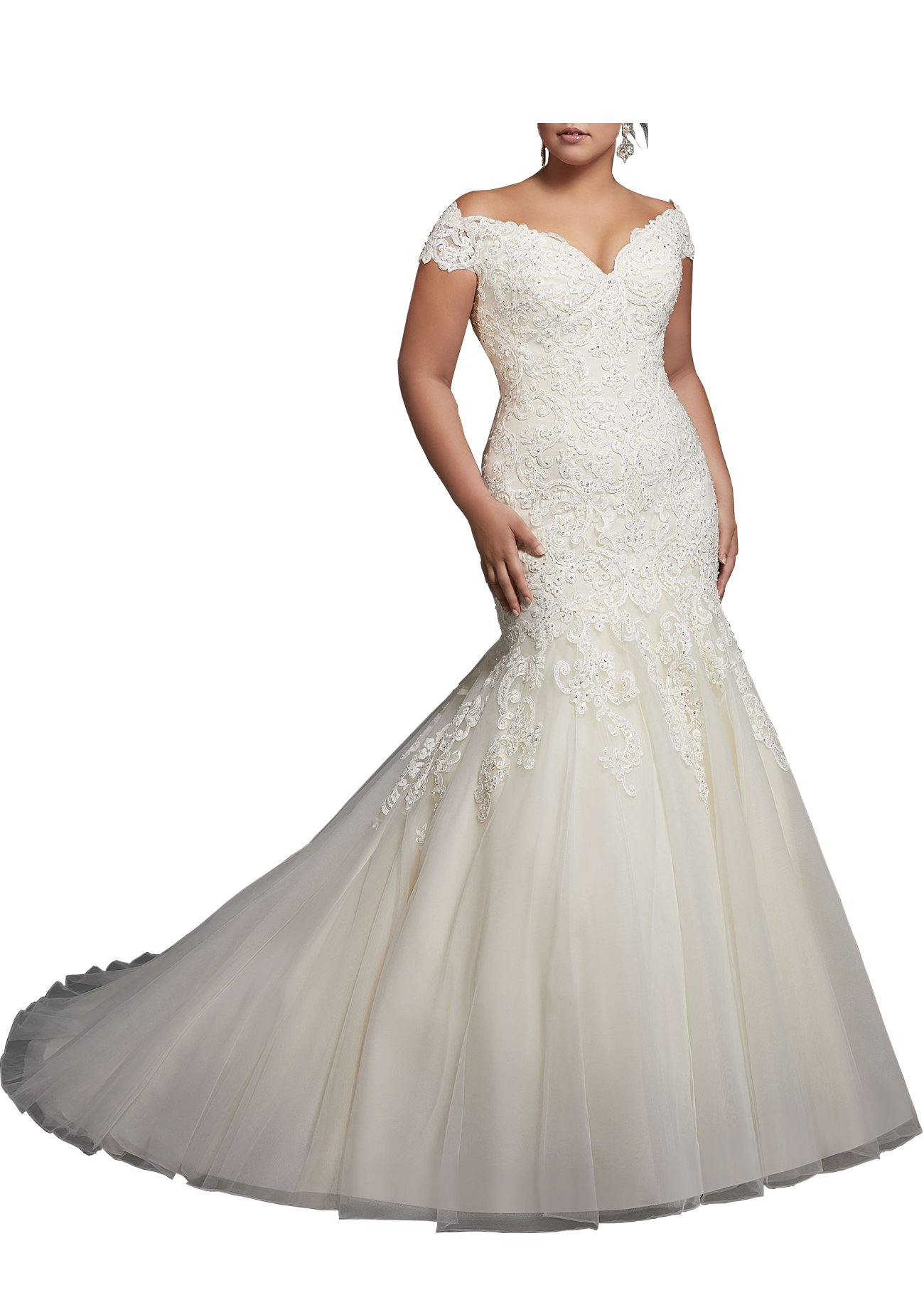 Beauty Bridal V-neck Off Shoulder Mermaid Wedding Dresses For Bride Lace Applique Bridal Gowns (18W,Pure White)