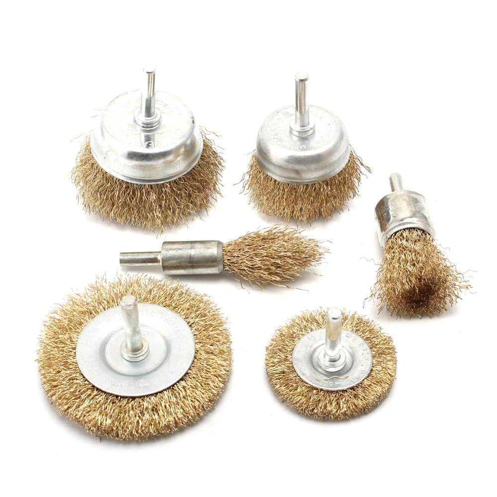 6-Piece Brass Coated Wire Brush Wheel & Cup Brush Set with 1/4-Inch Shank