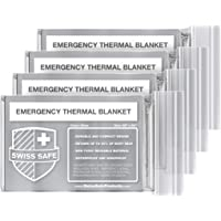 4-Pack Swiss Safe Emergency Mylar Thermal Blankets (Silver or Winter Camouflage)