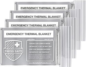 4-Pack Swiss Safe Emergency Mylar Thermal Blankets