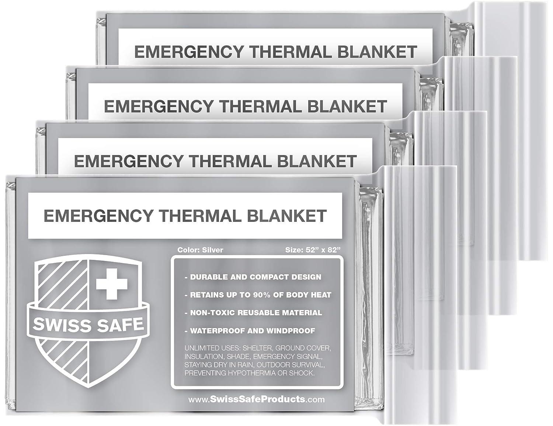 Swiss Safe Emergency Mylar Thermal Blankets (4-Pack) + Bonus Signature Gold Foil Space Blanket: Designed for NASA, Outdoors, Hiking, Survival, Marathons or First Aid