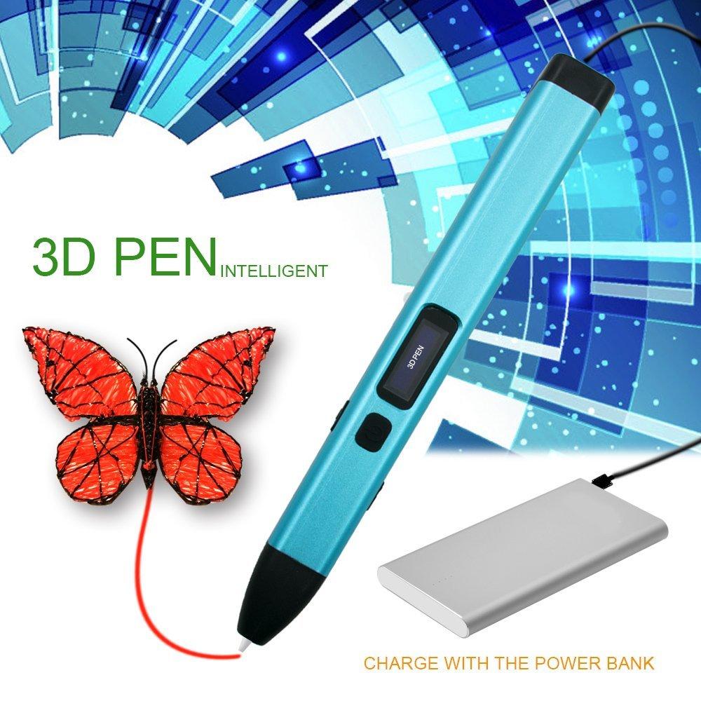3D Stylo d'impression, MODAR Intelligent Non-Toxique 3D Pen avec Chargeur USB, 2 Couleurs Alé atoire 1.75mm PCL Fils Filament 5m [Compatible avec Filament en PCL] (Bleu)
