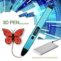 3D Stylo d'impression pour Enfant, MODAR Non-Toxique Basse Température 3D Pen Rechargeable avec Lumière LED, USB Chargeur, 2 Couleurs 1.75mm PCL Fils Filament, Pochoirs, Moules, Autocollant d'Emoji [Compatible avec Filament en PCL] (Rose)