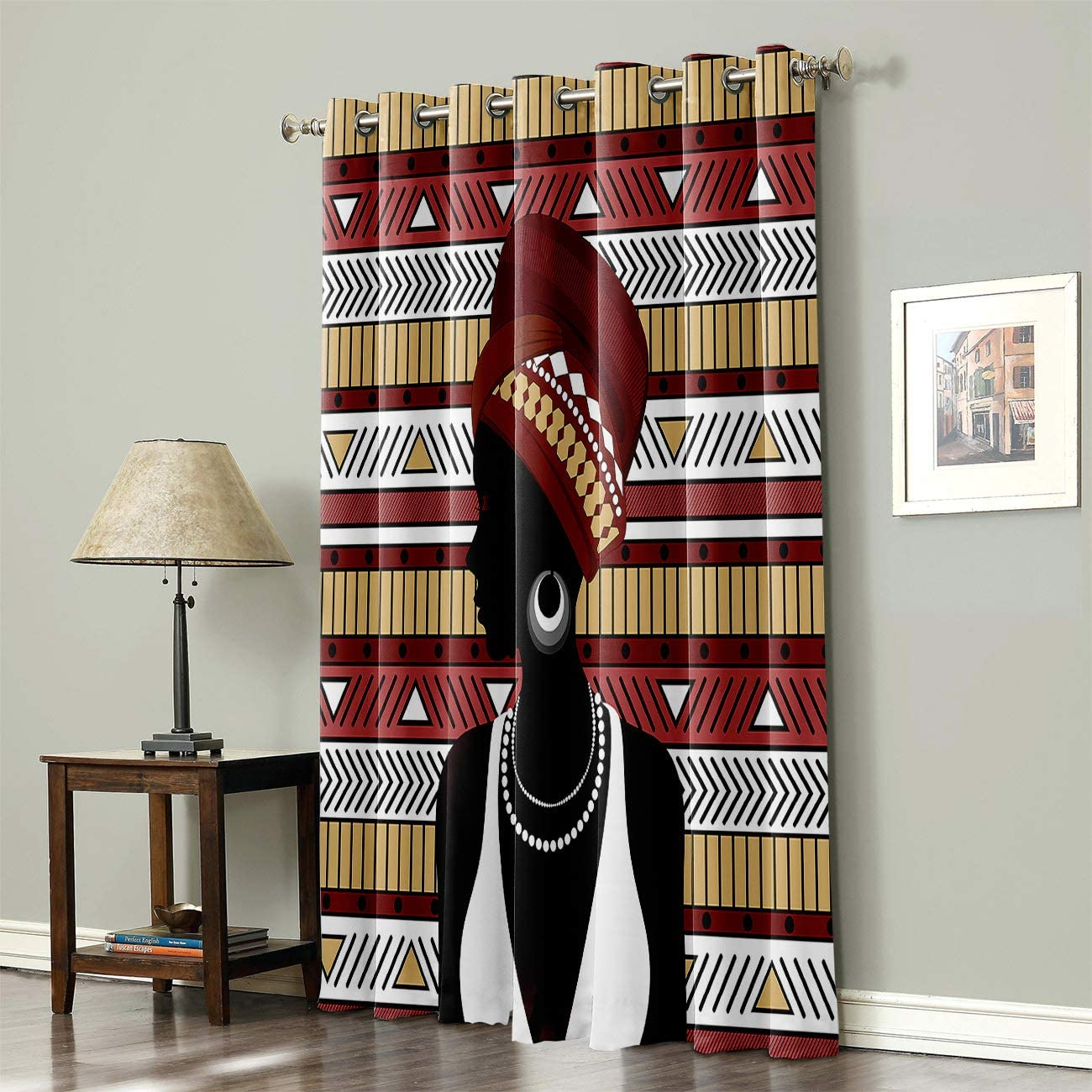 Mosphee 52x72 Inch Drop Thermal Insulated Window Curtains African Woman With Ethnic Elements Room Darkening Blackout Light Block Curtain Panels For Bedroom Living Room Kitchen Home Kitchen