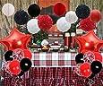 Amazon.com: Juego de decoración para fiesta de color rojo y ...