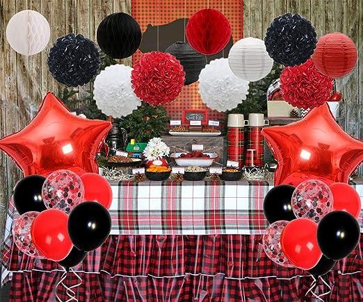 Set de decoraciones de fiesta rojas y negras con papel de ...
