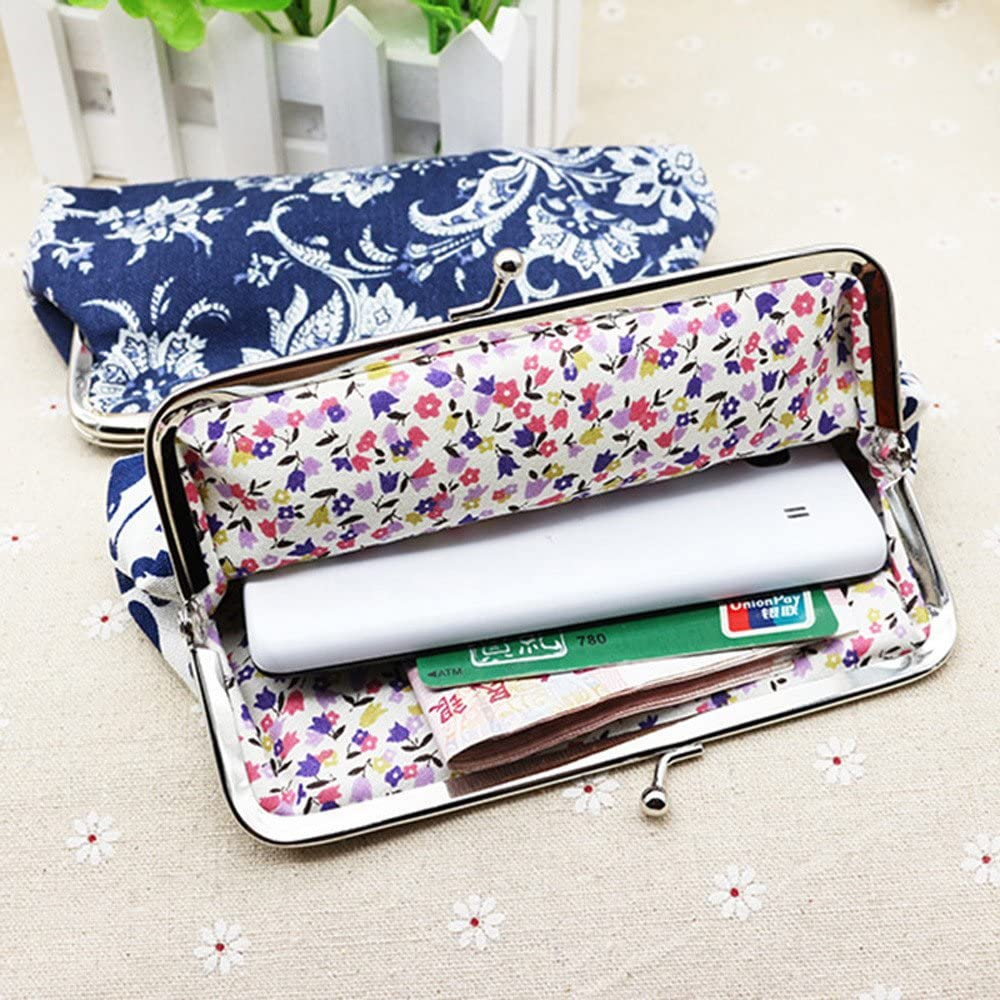 Coin Purse for Women Teen Girls Canvas Retro Vintage Floral Clasp Buckle Coin Purse Change Keys Jewelry Pouch Cards Case Flowers Print Wallet Clutch Bag Cheap Gift for Girls Women Blue