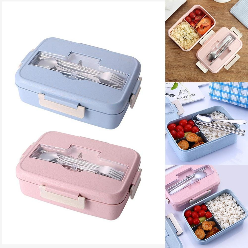 tidystore Bento Box Lunch Containers for Kids and Adults Wheat Straw Biodegradable Eco-Friendly BPA-Free Organic Gluten-Free 3 Compartments Spill Proof