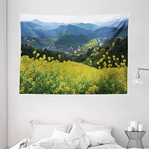 Ambesonne Nature Tapestry, Flower Meadow Over The Village Mountains in a Row Grass Fresh Field Photo Print, Wide Wall Hanging for Bedroom Living Room Dorm, 80 X 60 , Yellow Green