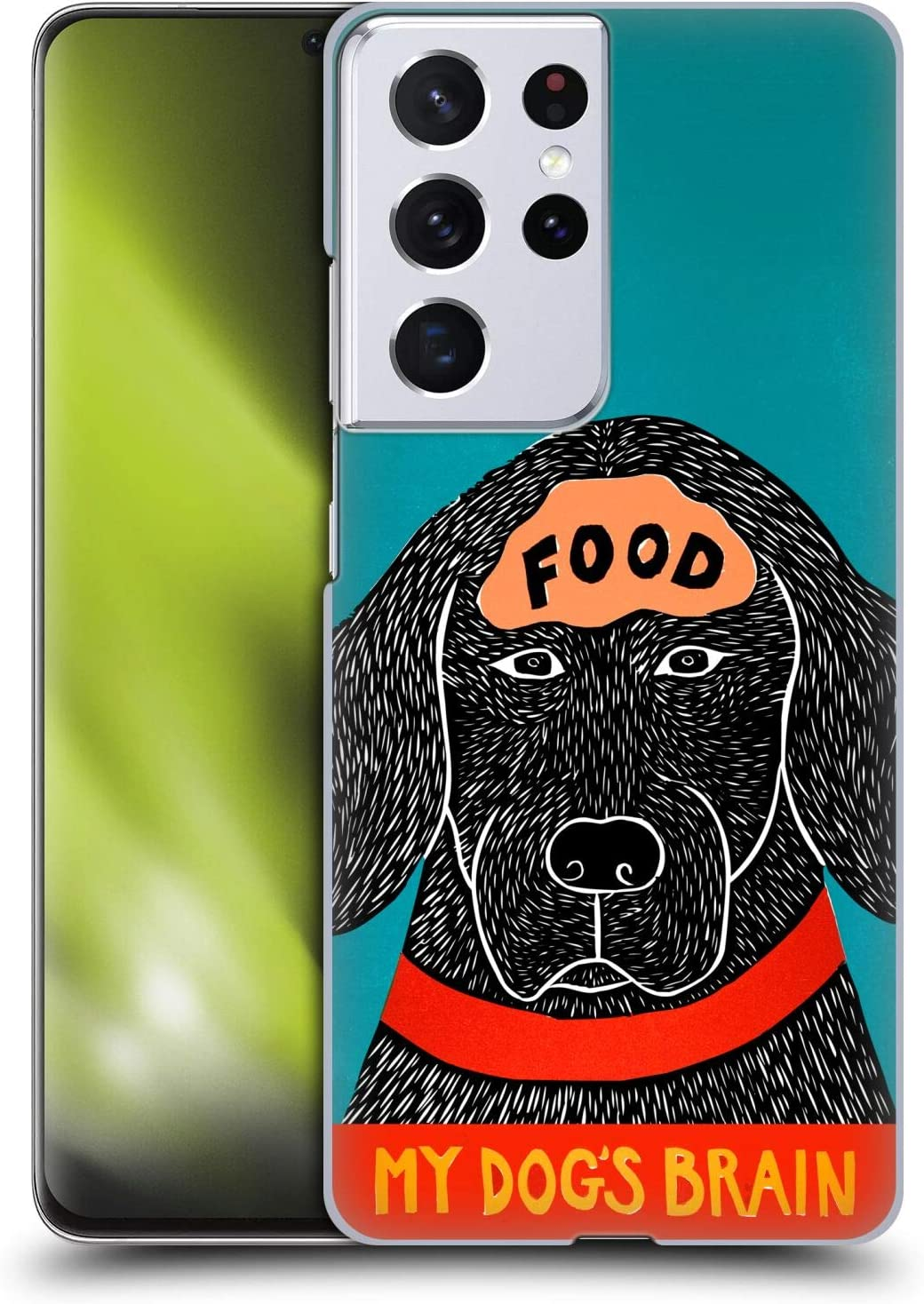 Head Case Designs Officially Licensed Stephen Huneck Dogs Brain Food Sally Humour Hard Back Case Compatible with Samsung Galaxy S21 Ultra 5G