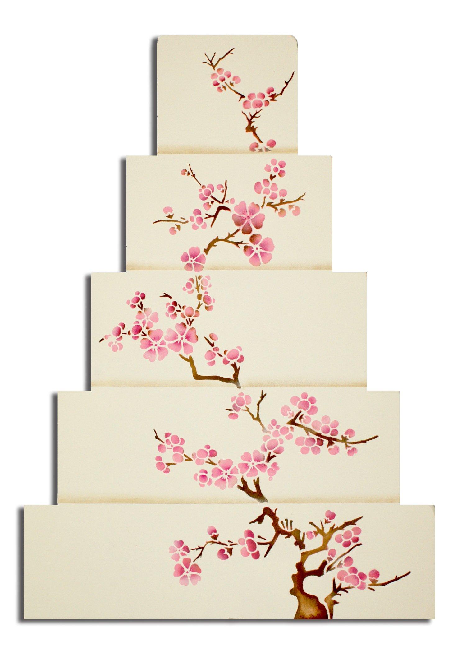 Designer Stencils C440 Blooming Cherry Tree Cake Stencil Set, Beige/semi-transparent by Designer Stencils (Image #3)