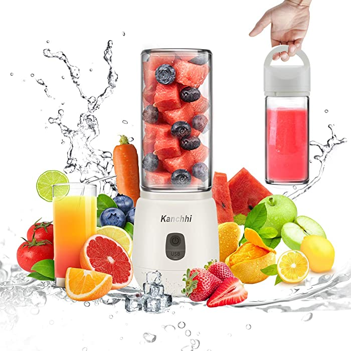 Portable Blender for Shakes and Smoothies, Cordless Small Smoothie Blender Maker, USB Mini Blender for Making Smoothies Machine, Travel Personal Drink Blenders Cup, Battery Operated Blend Jet Juicer