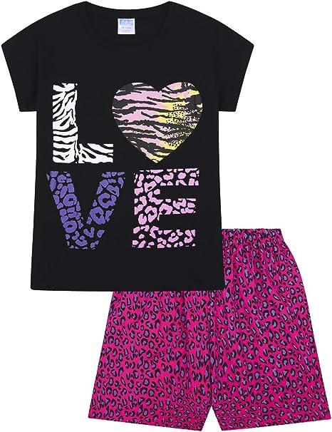 Love Pyjamas Girls Animal Print Short Pjs 9 to 13 Years Black