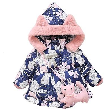 Longra Manteau à Capuche Fille Hiver Chaud Ultra Épais Doudoune Fille Bébé  Vêtements d extérieur 8b825145b82