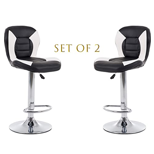 THKSBOUGHT Set of 2 Modern Bar Stools PU Leather Adjustable Counter Height Swivel Stool Black