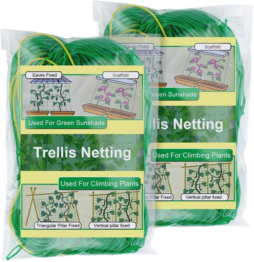 Zivisk 6.6'x16.4'ft x 2Pcs Trellis Netting for Climbing Plants, Heavy Duty Garden Net Support for Cucumber,Vegetables,Tomatoes,Vine,4