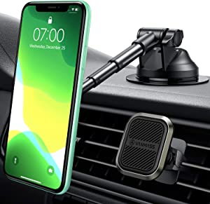 VANMASS 2020 Industry-Leading Zinc Alloy Universal Magnetic Car Mount with 6 Powerful Magnet, Long Telescopic Arm, Enhanced Gel Suction Cup, Dash Windshield Vent Phone Holder for All Phone&Tablet
