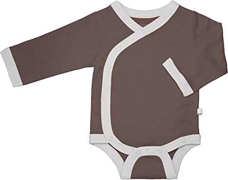 Teach Leanbh Unisex Baby Cotton Long Sleeve Side-Snap Shirts Soild Color Kimono Tees 0-12 Months