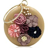 Milisente Floral Clutch Purses for Women Rhinestone Evening Bag with Handle