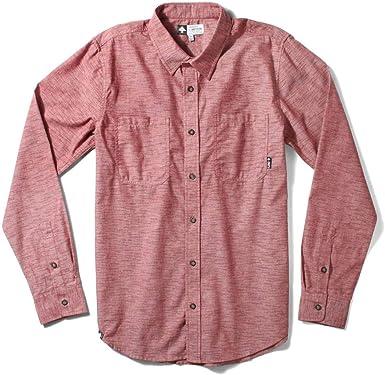 LRG Desmond Long Sleeve Chambray Woven Shirt Maroon: Amazon ...