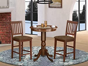 East West Furniture EDVN3-MAH-C Kitchen Set 3 Pc - Linen Fabric Dining Chairs Seat – Mahogany Finish Kitchen Table and Frame