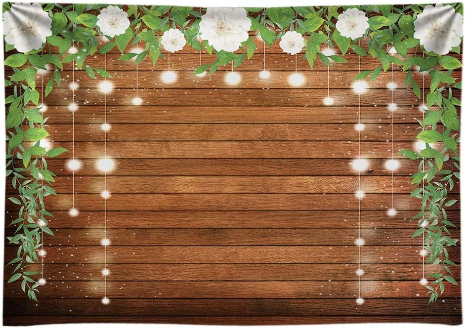 Funnytree Durable Fabric Rustic Wood Floral Backdrop No Wrinkles Flowers Glitter Brown Wooden Board Floor Background Wedding Bridal Shower Baby Shower Birthday Party Banner Photo Studio Props 7x5ft