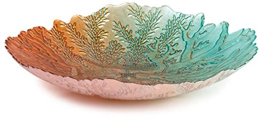 Large Blue & Orange Reef Embossed Glass Bowl by Traders and Company