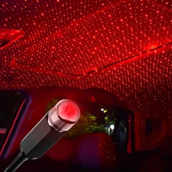 Flexible USB Night Lamp Car Ceiling Decoration Red 1 Pack Adjustable Romantic Roof Star Projector Nightlights Atmosphere Decorations Lamp for Parties USB Night Lights for Car