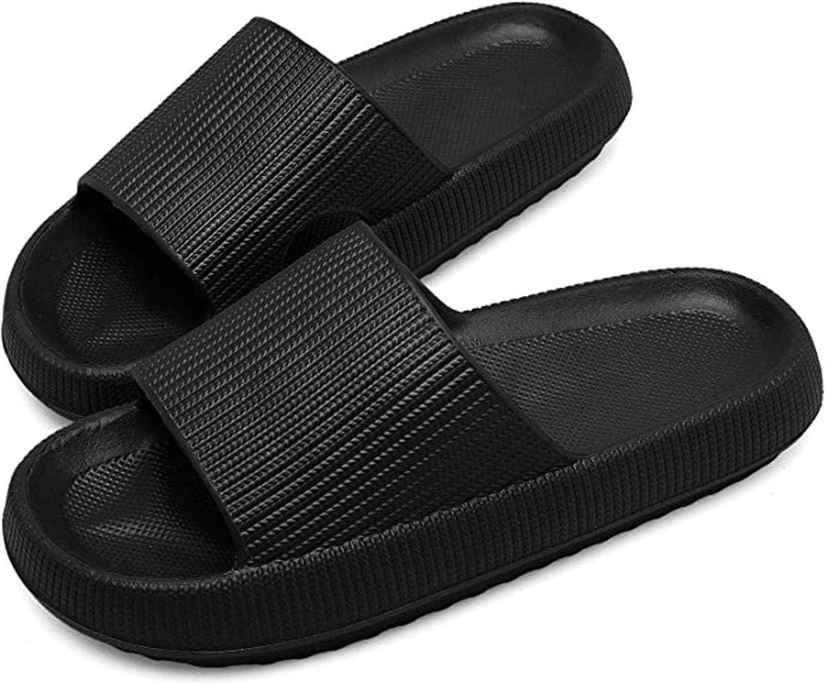 XXzhang Almohada Slides Slippers Sandals Solos Solos Gruesos Antideslizantes Unisex Ducha de Secado rápido Ducha Baño Soft Soft,Negro,9.5~10Women/8~9Men