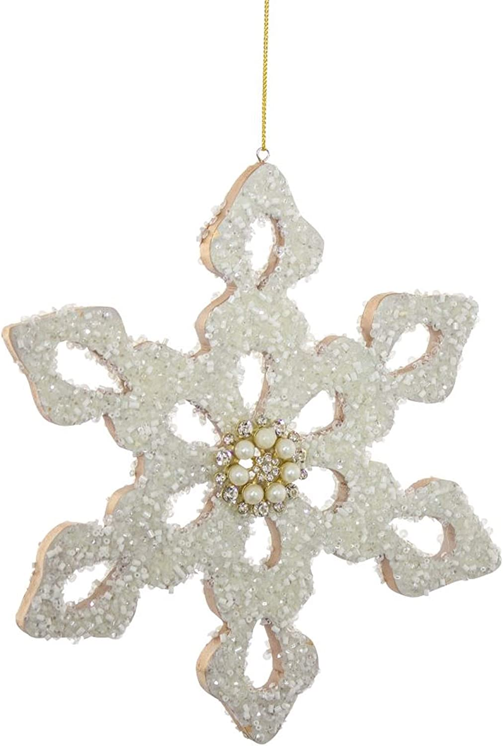 """Diva At Home 7.5"""" White Glittery Finish Snowflake Wall Hanging Christmas Ornament"""