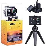 NZACE Action Camera, 1080p Ultra HD Wifi Waterproof 170 Degree Wide Angle 12 MP DV Camcorder Sports Camera with 2Pcs 900mAh Batteries 17 Mounting Kits(Black)