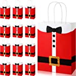 16 Pieces Large Santa Clause Suit Print Treat Bags with Handles,