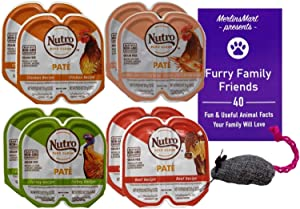 Nutro Feed Clean Grain Free Pate Cat Food 4 Flavor 8 Can Variety - (2) Each: Chicken, Chicken Liver Shrimp, Beef, Turkey (2.6 Ounces) Plus Catnip Toy and Fun Facts Booklet Bundle