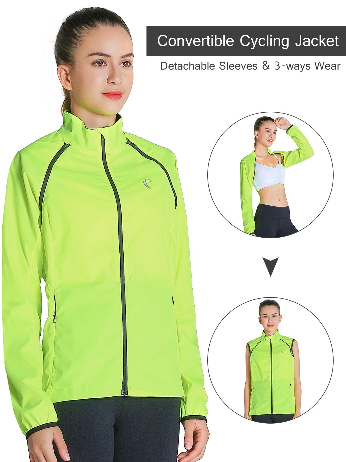 J.CARP Convertible Women Cycling Jacket Windproof Water Resistant Softshell Yellow L
