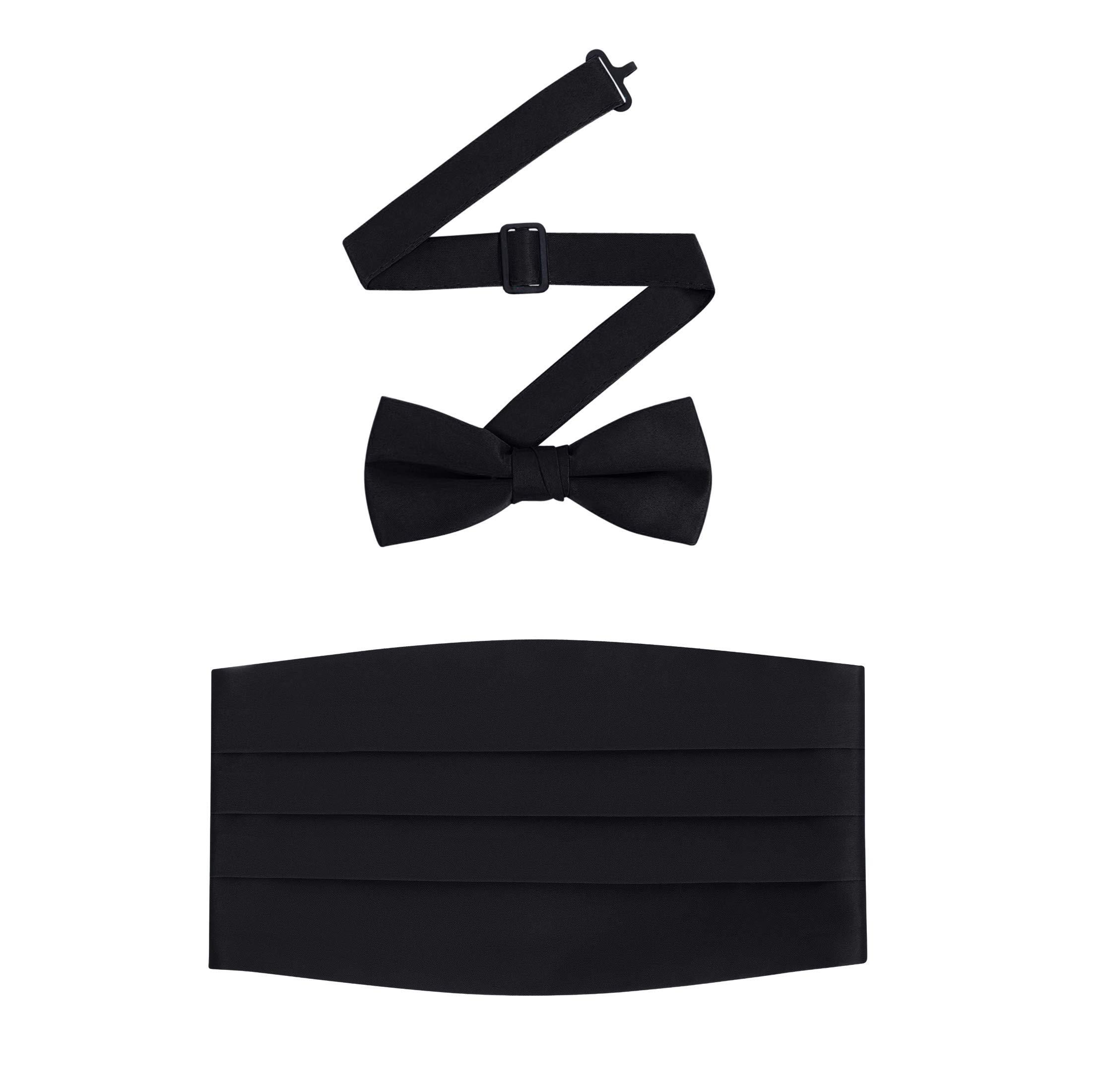 Men's Formal Satin Bowtie and Cummerbund Set - Black, By S.H Churchill