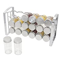 ESYLIFE Kitchen Cupboard Spice Storage Rack Organiser with 18 Empty Glass Spice Jars Bottles, Chrome Finished
