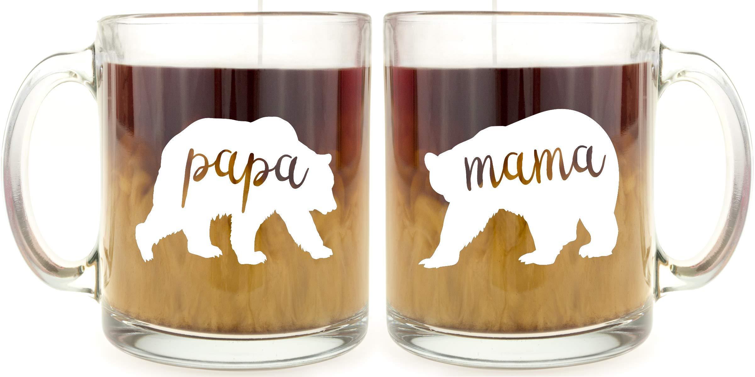 Mama Bear & Papa Bear Glass Coffee Mug Set ... by Make Em Laugh (Image #1)