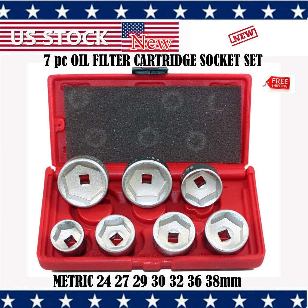 Automotive Tool Kit, Vithconl 7PCs OIL FILTER CARTRIDGE SOCKET SET METRIC 24 27 29 30 32 36 38mm (Ship from US)