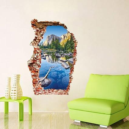 Muro rotto Adesivi murali 3D Stagno colorato Decorazione della casa Salotto  Sfondo Paesaggio di montagna Buco rotto Adesivo porta