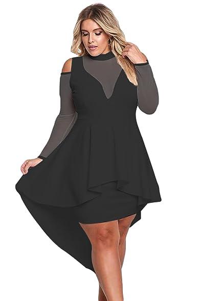 HARDKING Women\'s Fashion Casual Long Sleeves Plus Size Midi Dress ...
