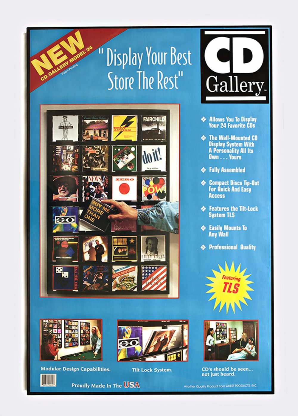 Cd Gallery Holds 24 Cds Wall Mounted Black