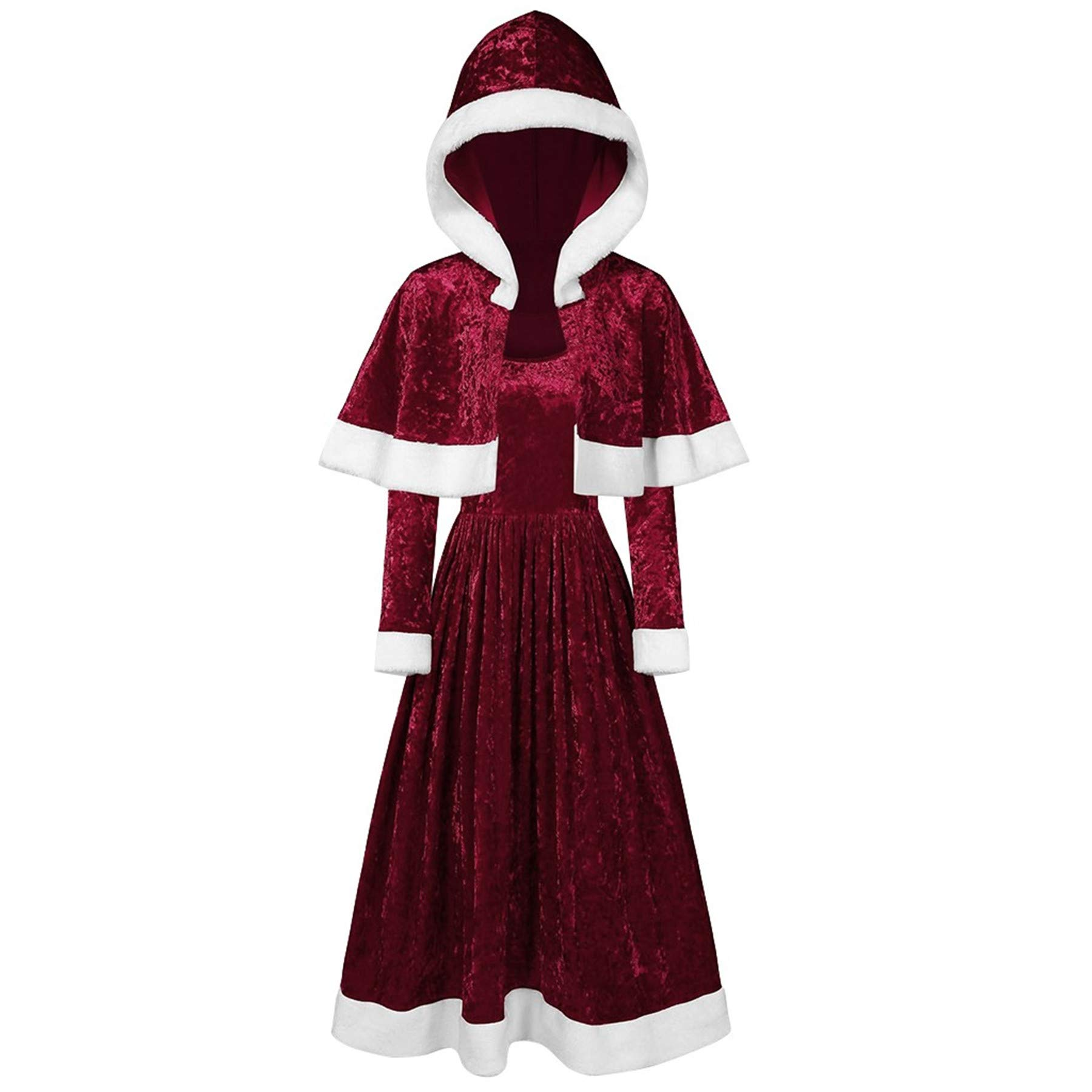 Merry for Girl Velvet Long Sleeve O-Neck Festival Dress and Hooded Cape(XL,Wine) by Annhoo