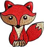 "Écusson Brodé appliqué coudre renard enfant fille bebe couronne patch badge thermocollant "" renard 7.8 x 7 cm """