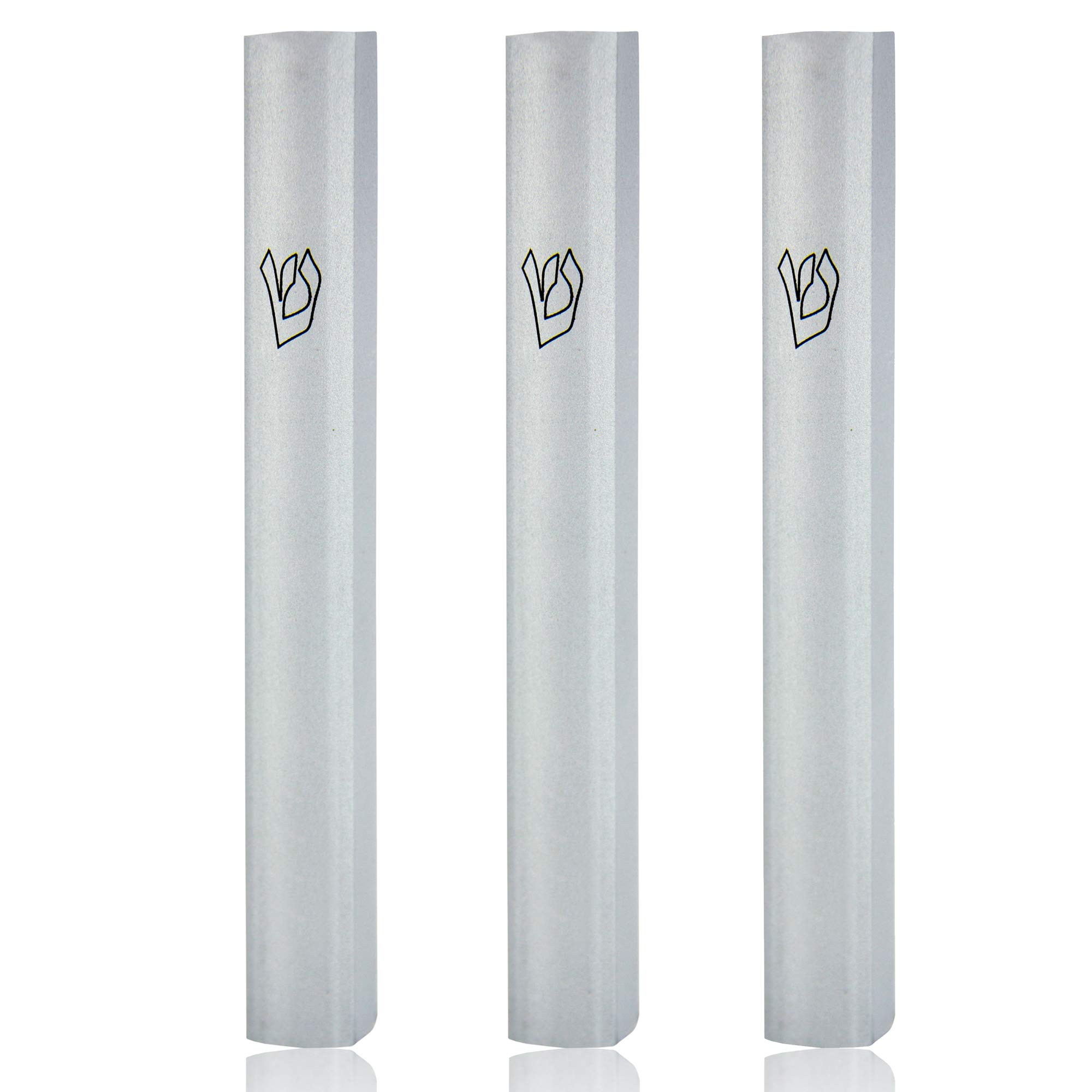 ateret yudaica Judaica-MP (3-Pack) Silver Matt Aluminum MEZUZAH CASE for 5''/12cm Mezuzah Scroll, Easy Peel and Stick, for Door Mezuzah Scroll - Weather Proof CASE Protection - Made in Israel