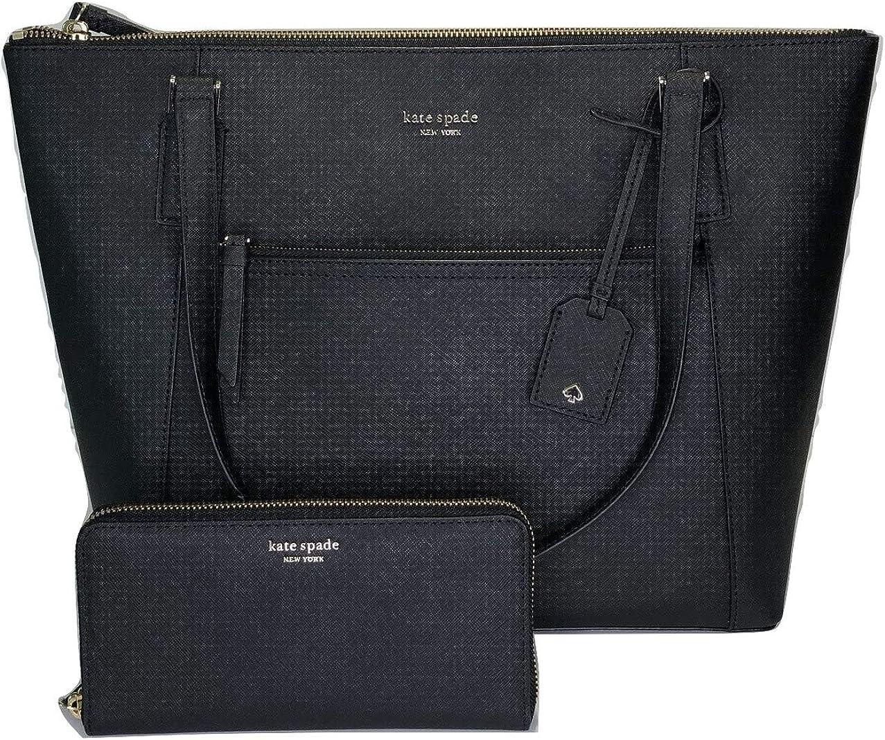 Kate Spade New York Cameron Pocket Tote WKRU5841 bundled with matching Cameron Large Wallet WLRU5449 (Black)