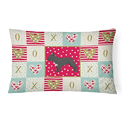 Caroline's Treasures CK5835PW1216 French Bulldog #1 Love Canvas Fabric Decorative Pillow, 12H x16W, Multicolor : Garden & Outdoor