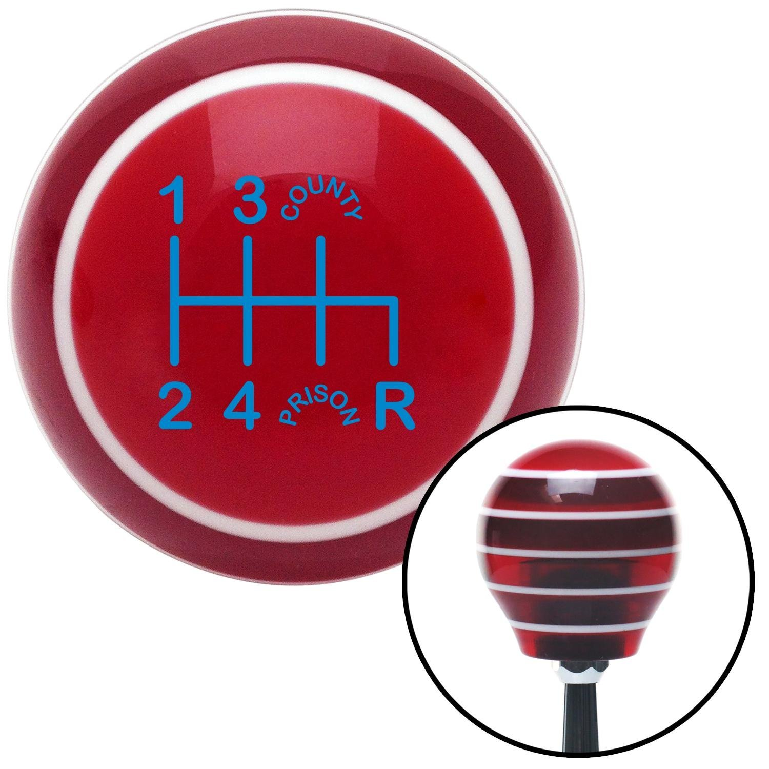 American Shifter 118093 Red Stripe Shift Knob with M16 x 1.5 Insert Blue Shift Pattern CP41n