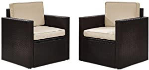 Crosley Furniture Palm Harbor 2-Piece Outdoor Wicker Conversation Set with Sand Cushions - Brown