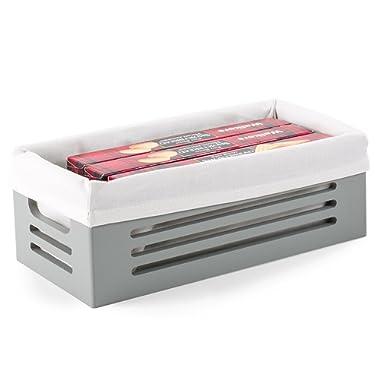Wooden Storage Box - Decorative Closet, Cabinet Shelf Basket Organizer Lined Machine Washable Soft Linen Fabric - Gray, Extra Small